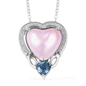 Mabe Pink Pearl, London Blue Topaz and Multi Gemstone Heart Pendant with 18 Inch Chain in Rhodium Plated Silver