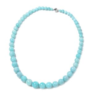 20 Inch Amazonite Beaded Necklace in Rhodium Plated Sterling Silver