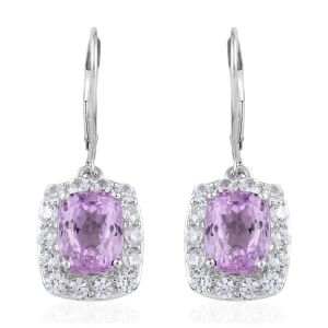 Kunzite and Cambodian Zircon Drop Halo Earrings in 9K White Gold