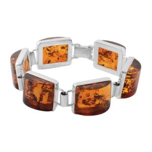 Baltic Amber Bracelet (Size 7.5) in Sterling Silver