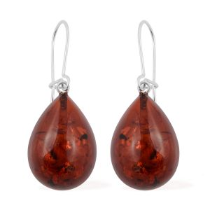 Extremely Rare Size Rare Baltic Amber Earrings (with Lever Back) in Sterling Silver