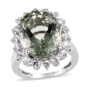 Prasiolite and Cambodian Zircon Halo Ring in Platinum Plated Sterling Silver