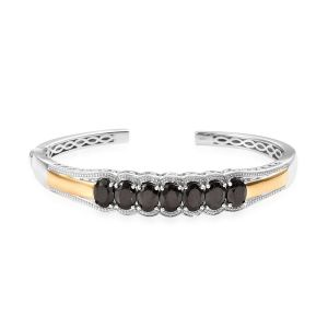 Elite Shungite Cuff Bangle (Size 7.5) in Platinum and Yellow Gold Overlay Sterling Silver