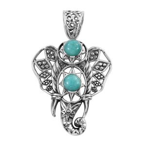 Artisan Crafted Russian Amazonite Elephant Pendant in Sterling Silver