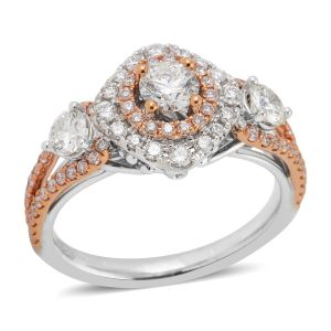 1.25 Carat Diamond Halo Ring in 14K Rose and White Gold