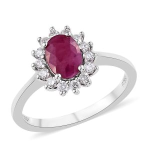 Burmese Ruby and Diamond VS EF Halo Ring in 950 Platinum
