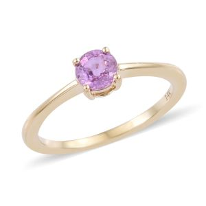 AA Madagascar Pink Sapphire Solitaire Ring in 14K Yellow Gold