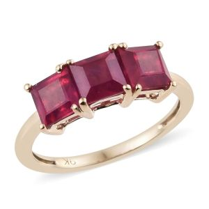 3.25 Ct AA African Ruby Trilogy Ring in 9K Yellow Gold