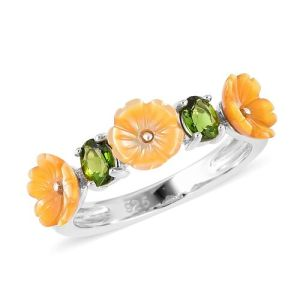 Yellow Mother of Pearl and Russian Diopside Flower Ring in Rhodium Plated Silver