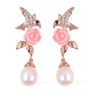 Fresh Water Pearl Pink Mother of Pearl and Multi Gemstone Bird Flower Earrings in Vermeil Rose Gold Plated Sterling Silver