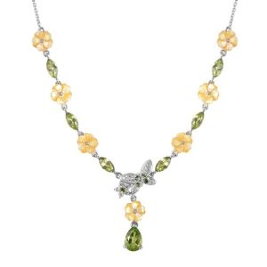 Mother of Pearl and Multi Gemstone Floral Necklace in Rhodium Plated Silver
