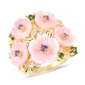 Pink Mother of Pearl, African Amethyst and Multi Gemstone Flower Ring in Vermeil and Gold Plated Sterling Silver