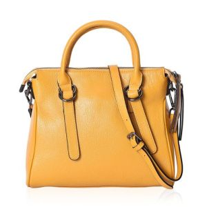 Super Soft 100% Genuine Leather Yellow Colour Tote Bag with External Zipper Pocket and Removable Shoulder Strap