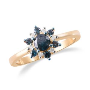 Blue and White Diamond Starburst Ring