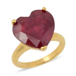 African Ruby Solitaire Heart Ring