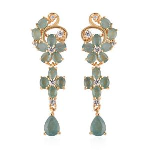 Grandidierite and Zircon Floral Dangle Earrings
