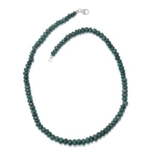 Emerald Green Corundum Beaded Necklace in Platinum Plated Sterling Silver