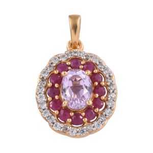 Kunzite and Burmese Ruby with Cambodian Zircon Halo Pendant