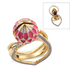 Masoala Sapphire and Multi Gemstone Solitaire Floral Ring