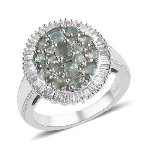 Alexandrite  and Diamond Cluster Ring in Platinum Overlay Sterling Silver