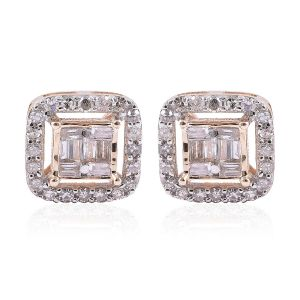 Diamond Halo Stud Earrings in 9K Yellow Gold