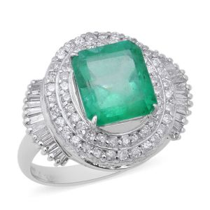 AAAA Boyaca Colombian Emerald, Diamond ring