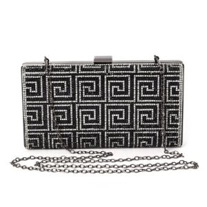 Fret Pattern Crystal Studded Clutch Bag with Detachable Strap and Toggle Clip
