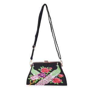 Embroidered Peacock Pattern Clutch Bag with Detachable and Adjustable Shoulder Strap