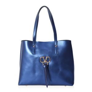 100% Genuine Leather Tote Bag with Zipper Closure in Metallic Navy