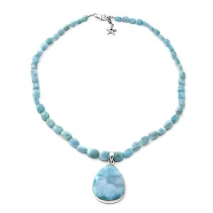 Larimar Teardrop Beaded Necklace with Star Charm in Platinum Plated Sterling Silver