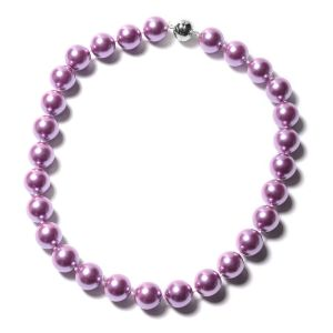 Purple Shell Pearl Beaded Necklace with Magnetic Lock in Rhodium Plated Sterling Silver