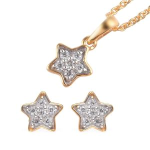 Zircon Star Pendant for Kids with 20 Inch Chain and Stud Earrings
