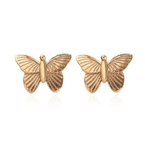 Children's Butterfly Stud Earrings in Gold Plated Sterling Silver with Push Back
