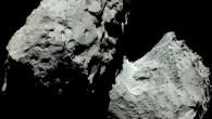 Wie auch viele andere kleine Körper im Weltall, beispielsweise die meisten Asteroiden, erscheint der Rosetta-Komet 67P/Churyumov-Gerasimenko in einem farblosen Grau. Dies lässt sich Farbbildern entnehmen, die Forscher aus Aufnahmen des […]