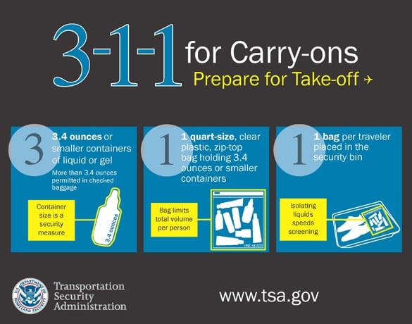 TSA Liquids and Gels rules 3-1-1