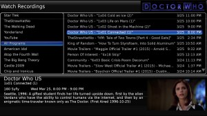 Doctor Who Recorded Program Listing in Mythtv