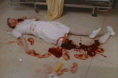 Ah crap, someone had an accident with a nurse doll and a bottle of ketchup.