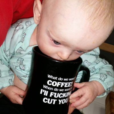 Before you get your underwear in a bind, the cup was empty, and I only let her play with it for a few seconds before I manned up and accepted the glower of doom and betrayal by taking the cup away.
