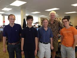 Danny meets the Udacity team (from left: David Stavens, Danny, Dave Evans, Peter Norvig & Andy Brown)