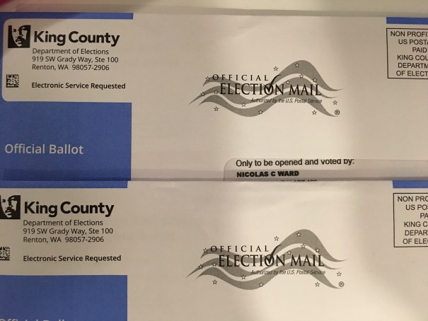Two King County Department of Elections Official Ballot envelopes