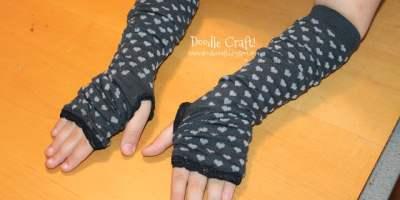 Finger less gloves from old knee high socks