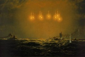 "The painting ""Sinking of Scharnhorst"" shows Duke of York and cruisers to starboard of the battlecruiser, Scharnhorst illuminated and being struck in the starboard bow by a torpedo from the destroyers running down her beam."