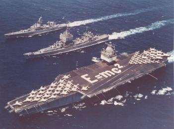 Iconic photo of Enterprise and Long Beach (CGN-9) and Bainbridge (CLGN-25) during 30,000 mile unrefueled global circumnavigation