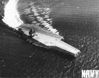 Enterprise in original configuration, perhaps on sea trials, with no embarked air wing