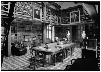 The Stone Library was built by Charles Francis Adams in 1870. In the will of John Quincy Adams (Article 16, Dated: Jan. 18, 1847), he suggested a fireproof building where his books, manuscripts, and maps could be kept together.