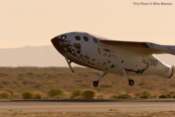 SpaceShipOne lands victoriously after a successful flight to space. Photo by Mike Massee. Courtesy of Scaled Composites, LLC.