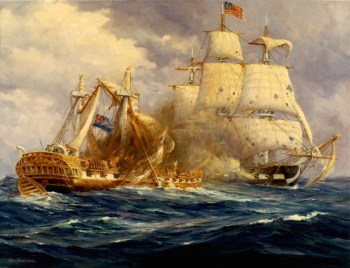 [http://www.stuartswanfurniture.com/ironsides.htm#Guerriere Stuart Swan] USS Constitution vs. HMS Guerriere 19 August 1812 This painting by Anton Otto Fischer depicts the first victory at sea by the fledgling US Navy over the mighty Royal Navy.
