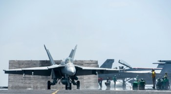 F/A-18 makes a carrier landing on John C. Stennis in 2015.