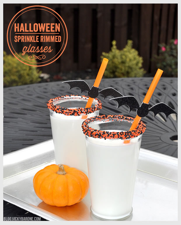 Halloween Sprinkle Rimmed Milk Glasses