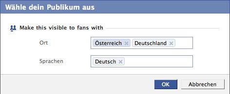 Facebook-Fanseiten: Zielgruppenauswahl